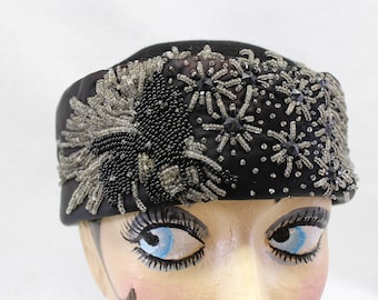 Unique Hand Beaded Black hat.  1950's Satin and Cashmere pillbox hat.