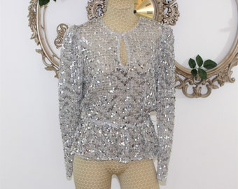 Silver sequin Party Top with Peplum Size 12.  Long sleeved sparkly Disco Top.  Sheer shiny Evening Blouse.  Measurements listed.