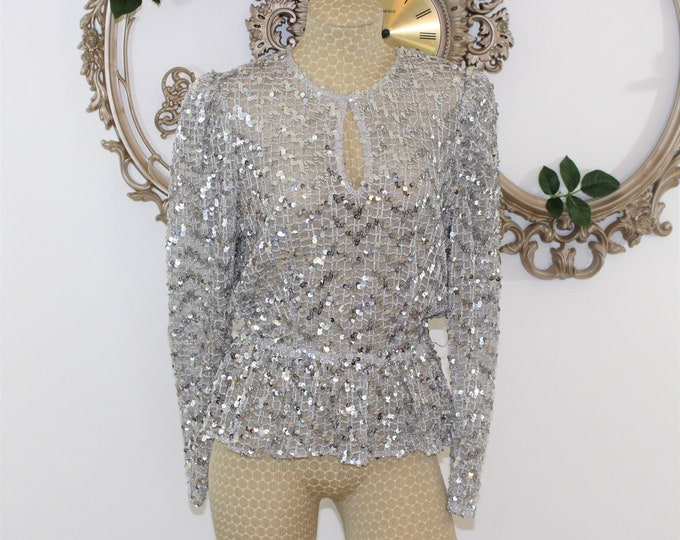 Silver sequin Women's Top with Peplum in  vintage Size 12.  Sheer Evening Blouse.