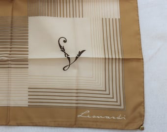 Vintage Leonardi Square Scarf in brown and tan colors.  Hand rolled hem Made in Italy scarf with L initial letter..
