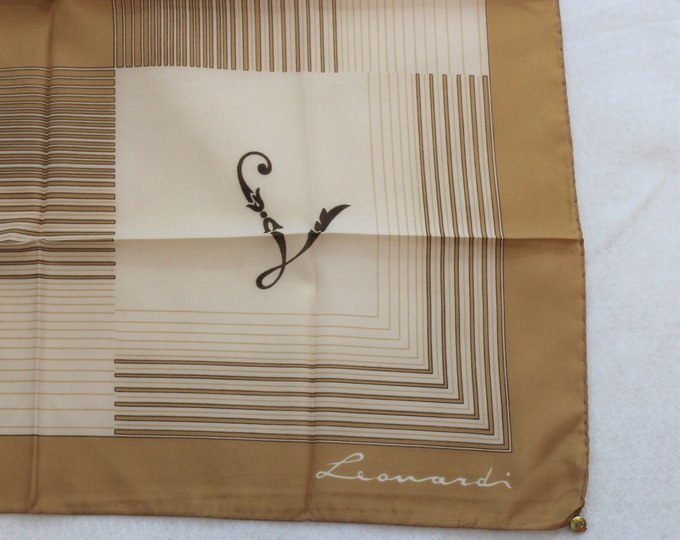 Leonardi Square Scarf in brown and tan colors. Initial L scarf with Hand rolled hem Made in Italy.
