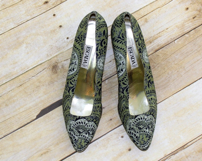 Escada pumps size 10 1/2 B blue and green print.  Designer shoes large size