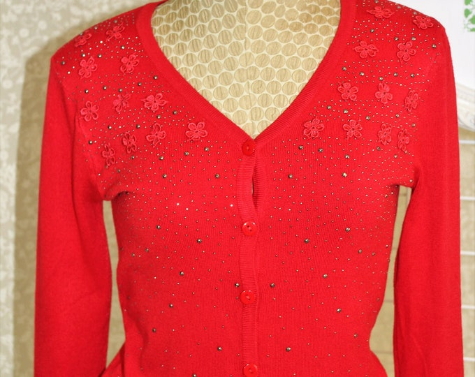 NWT Red Jenifer Moore Cardigan Embellished Sweater New with Tags  Original Price 179.