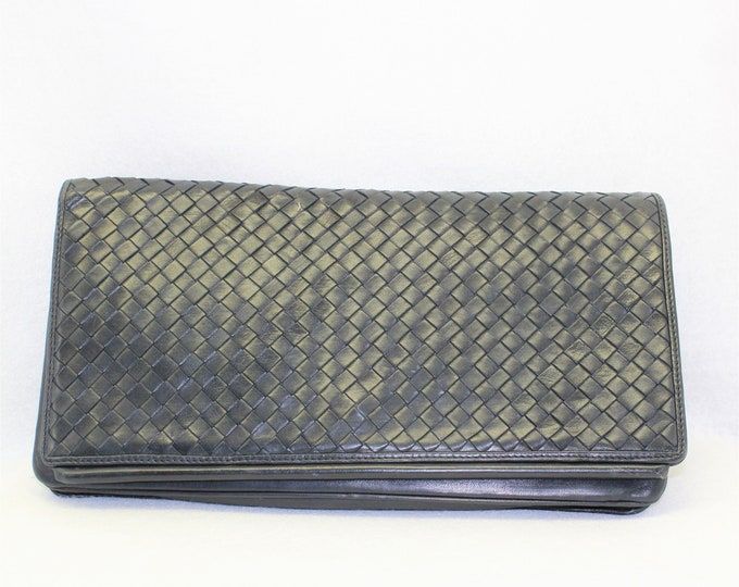 Leather purse Dark Blue Bag by Charles Jourdan.  Blue Woven leather purse.  Designer purse or clutch with Shoulder Strap.