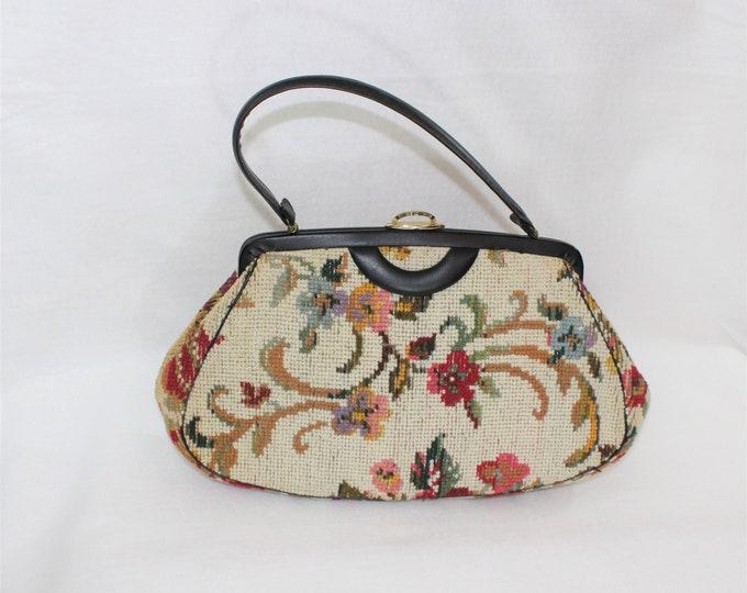 Tapestry Handbag or Purse.  Vegan Bag.  1950's 1960's vintage style purse.