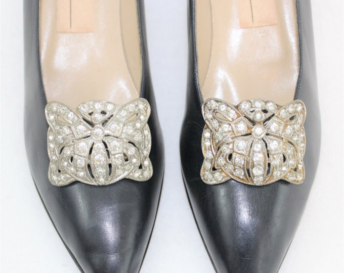 1920's Flapper Shoe Clips in Art Deco Design with Sliding Clip.  Vintage Rhinestone Bridal Shoe Clips