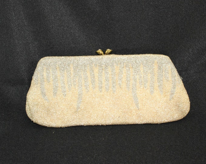 Gold and Silver Beaded Walborg Clutch Purse circa 1940's.  Vintage Beaded Evening Bag Handmade in Belgium.