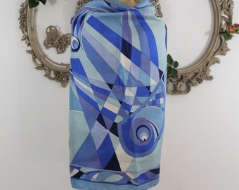 Mod print square scarf in shades of blue large enough to be a wrap Pucci like print made by Tanner.