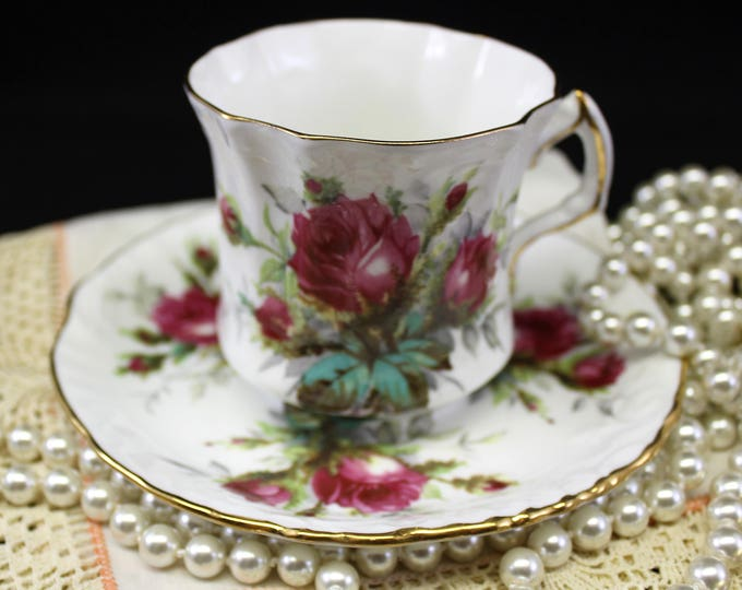 Vintage Rose Tea Cup and Saucer.  Hammersley Grandmother's Rose English Tea Cup and Saucer.