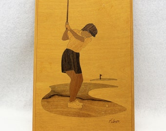 Inlaid Wood Plaque of Female Golfer.  Aritist Signed Nelson Jeff Nelson of Hudson River Valley Inlay.  Marquetry Vintage Golfer.