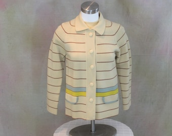 Vintage striped knit wool cardigan with covered buttons in Size XS - S circa 1960's.  Cream Tan Blue and yellow sweater.