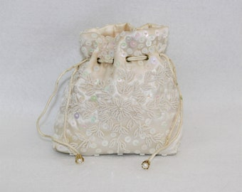 Antique Beaded Satin Bridal Purse with drawstring closure.  Handmade and beaded vintage purse pouch.  Cream colored embellished satin bag