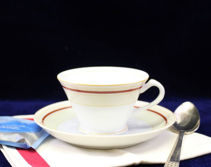 Fukagawa China Tea Cup and Saucer - Coffee Cup and Saucer - White Tan Gold Red