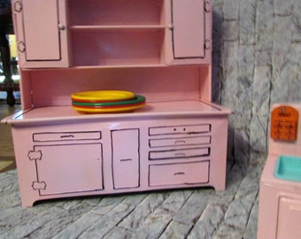 Vintage Children's play metal kitchen set including baker cabinet stove sink combo and stand alone frig. Tin Toy