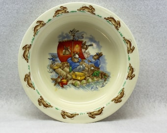 Royal Doulton Bunnykins Bowl picturing Sailing Bunnies.  Child's Vintage Bowl dinnerware