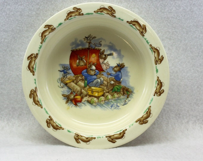 Royal Doulton Bunnykins Bowl picturing Sailing Bunnies.  Child's Vintage Bowl dinnerware