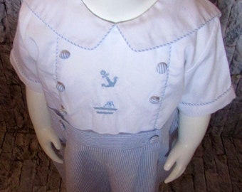 Vintage Friedknit creations, boys smocked outfit.