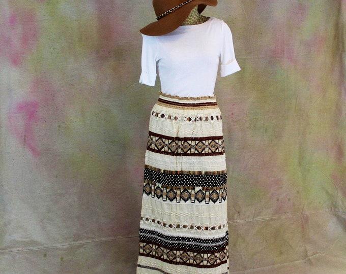 Hand made crochet maxi boho long skirt. Boho Maxi Skirt.