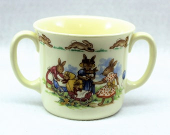 Bunnykins  Royal Doulton 2 handled Childs Mug  Fine Bone China  Mother Bunny with Baby buggies  Hallmarked  Collectible  Vintage Baby Gift