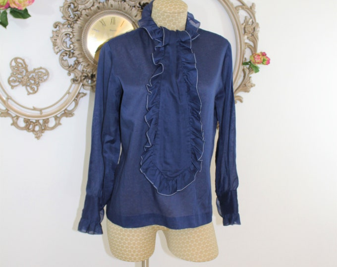 Dark Blue Vintage Blouse with Jabot.  Semi Sheer blue shirt by Fritzi of California with Ruffled Neckline.  Measurements Listed.