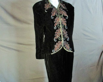 Vintage beaded embellished black velvet suit size 12 and 14 by Farinae Collections for Neiman Marcus.