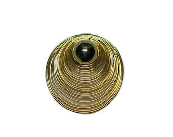 1980's Round Brooch Pin Vintage Gold Circle in Circle 1980s. Large pin - Statement Brooch Pin