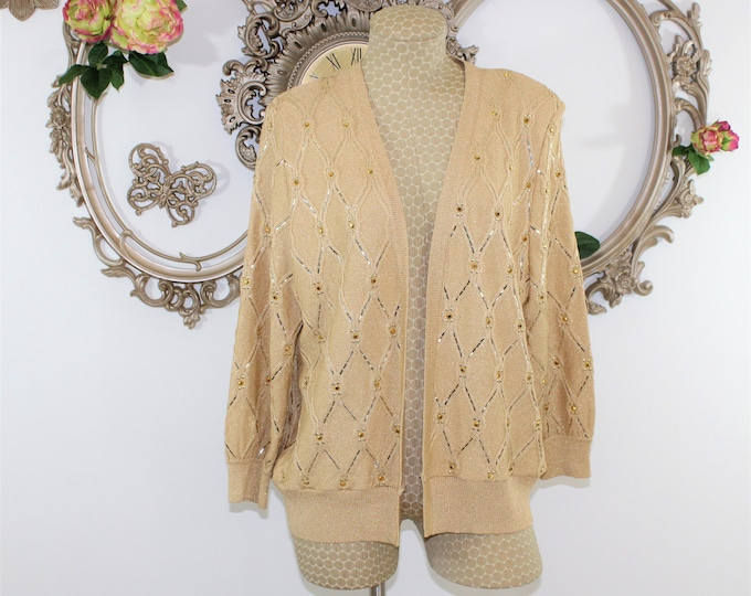 Gold St John Knit Sweater Size 12.  St John Evening by Marie Gray Gold Shimmer Cardigan size Medium to Large.
