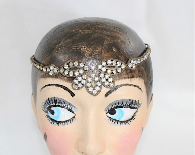 Authentic 1920's Headband with Braided Chain and Clear Glass Rhinestones. Flapper Headband. Art Deco Jewelry Headband. Antique Hair Acessory