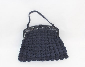 1930's Dark Blue Purse. Vintage Dark Blue Clam Shell Purse with Celluloid Frame. Crocheted Scalloped purse with unique frame.