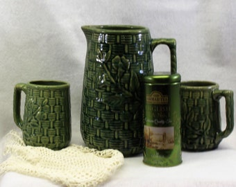 Vintage McCoy early brush pottery with green glaze  circa 1916-1925.  Antique McCoy pottery pitcher and 2 mugs basket weave pattern.