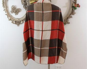 Vintage Square Plaid Scarf in brown tones.  Cream Tan Brown and Reddish Orange Color Scarf.
