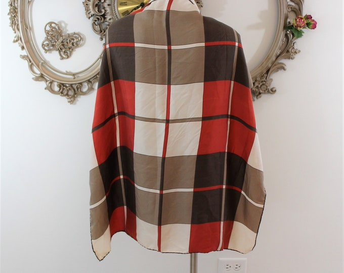 Square Plaid Scarf in tones of Cream Tan Brown and Reddish Orange Colors