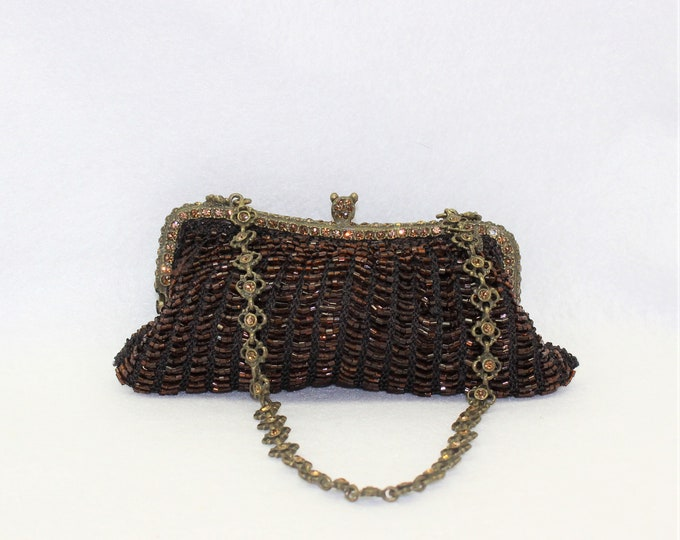 Brown Beaded Evening by Clara Kasavina. Handmade Small Purse Handbag with Beads and Crystals. luxury designer bag