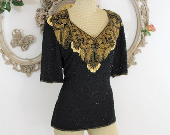 Black and Gold Beaded Top size Large by Stenay.  Gllitzy holiday attire top