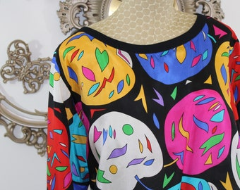 Women's Silk Top Colorful Size S. 1980's Bright colored 100% Silk Over sized Top Tag Size S.  Vintage Silk top by Adam Douglass.