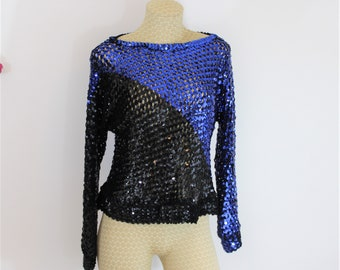 Vintage Blue and Black Sequin Peek A Boo Top Size S to M circa 1970's - 1980's.  Disco Party Top by Harry Acton for Party Collectibles