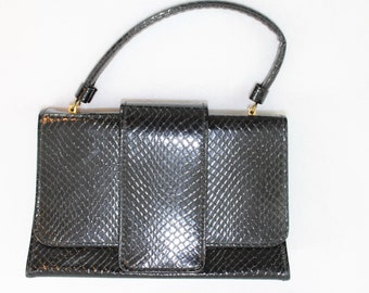 Small Black Handbag Embossed Snakeskin finish.  Structured Lady like handbag or purse. 1960's vintage style top handle purse