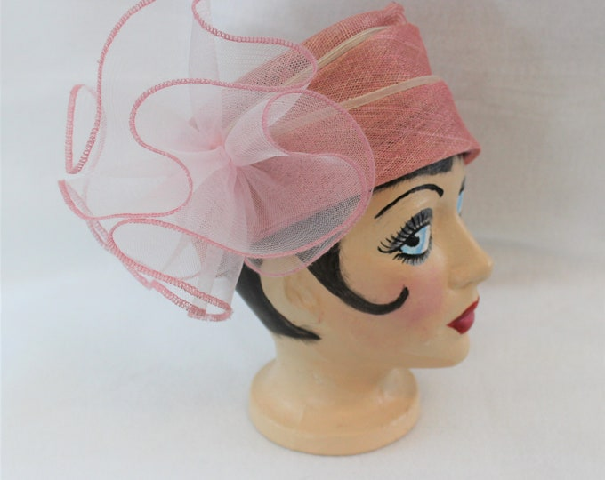 Woven Pink Hat with Large Ruffle Accent, Two Toned Pink hat perfect for a summer wedding or tea party.  Vintage Formal Millinery