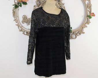 Vintage black beaded and sequined top in Size XL by Amanda.