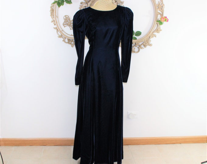 Blue Velvet Long Dress with Long Sleeves vintage size 14.  Velvet Holiday Dress Measurements Listed.
