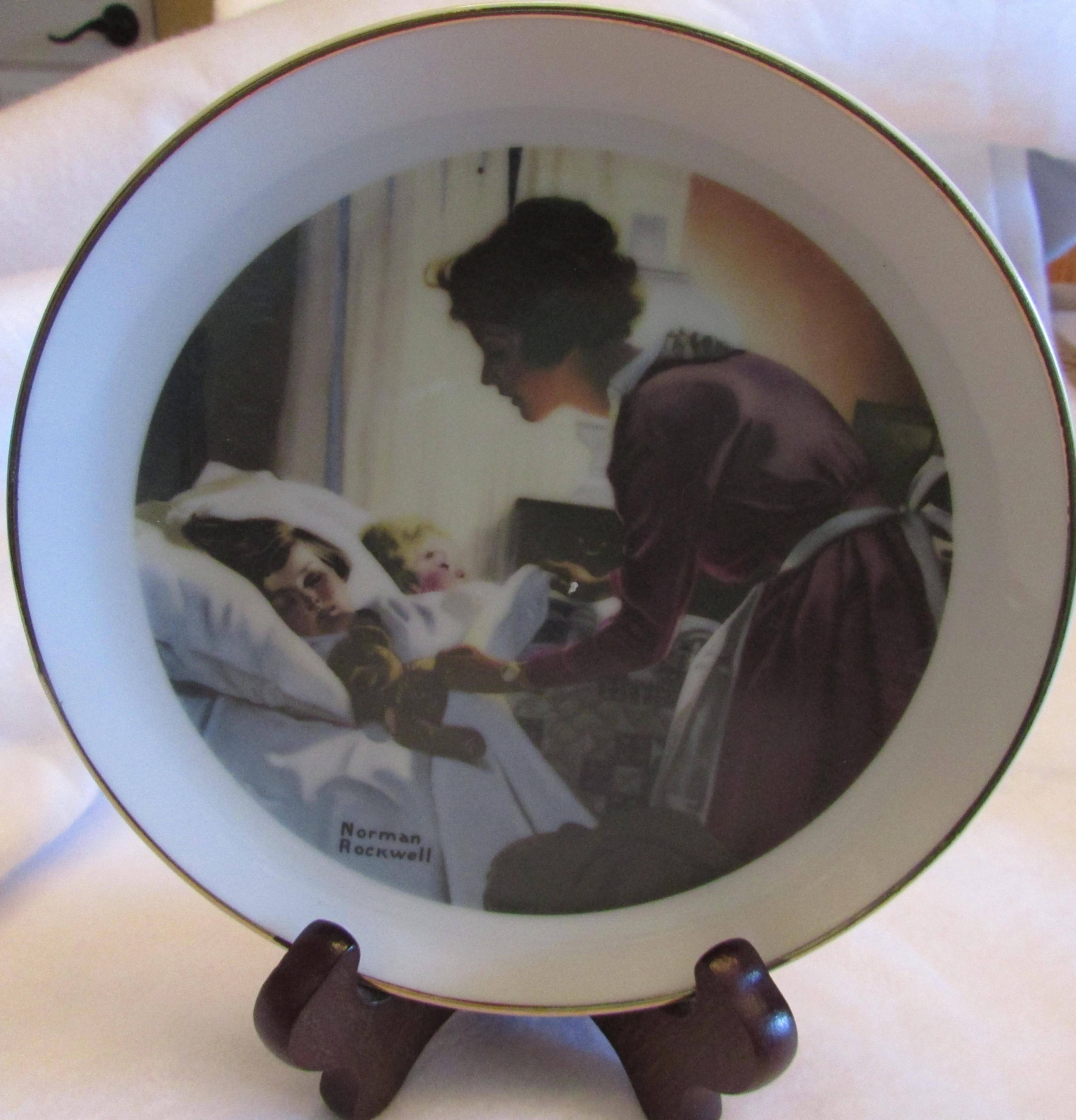 Norman Rockwell plate Mother tucking children into bed excellent ...
