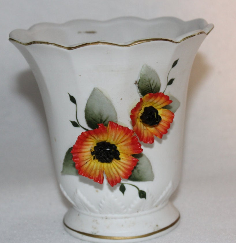White Bisque Vase With Raised Orange Yellow Poppies Vintage