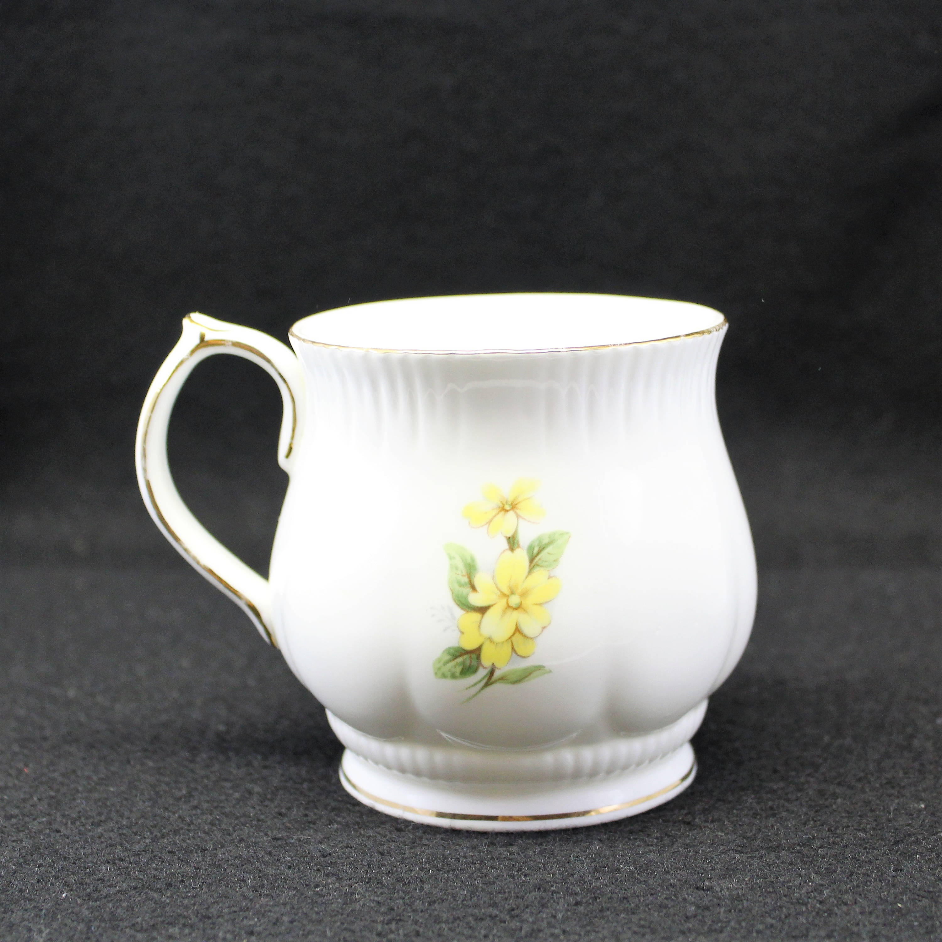 February Mug Cup Monthly Flower Coffee Or Tea Cup Yellow Violet
