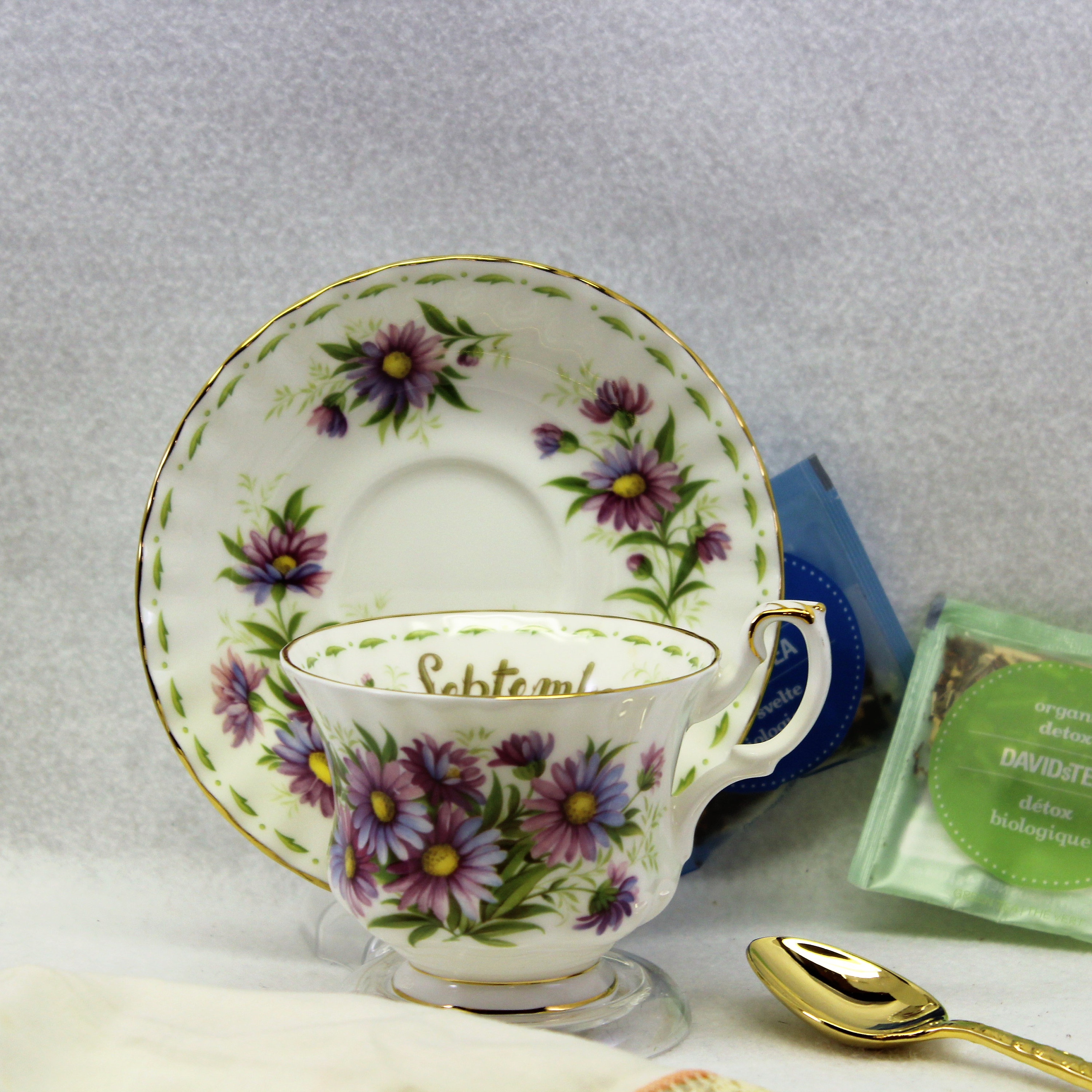 Royal albert tea cup collectible flower of the month september flower of the month september michaelmas daisy anniversary gift birthday gift gallery photo izmirmasajfo