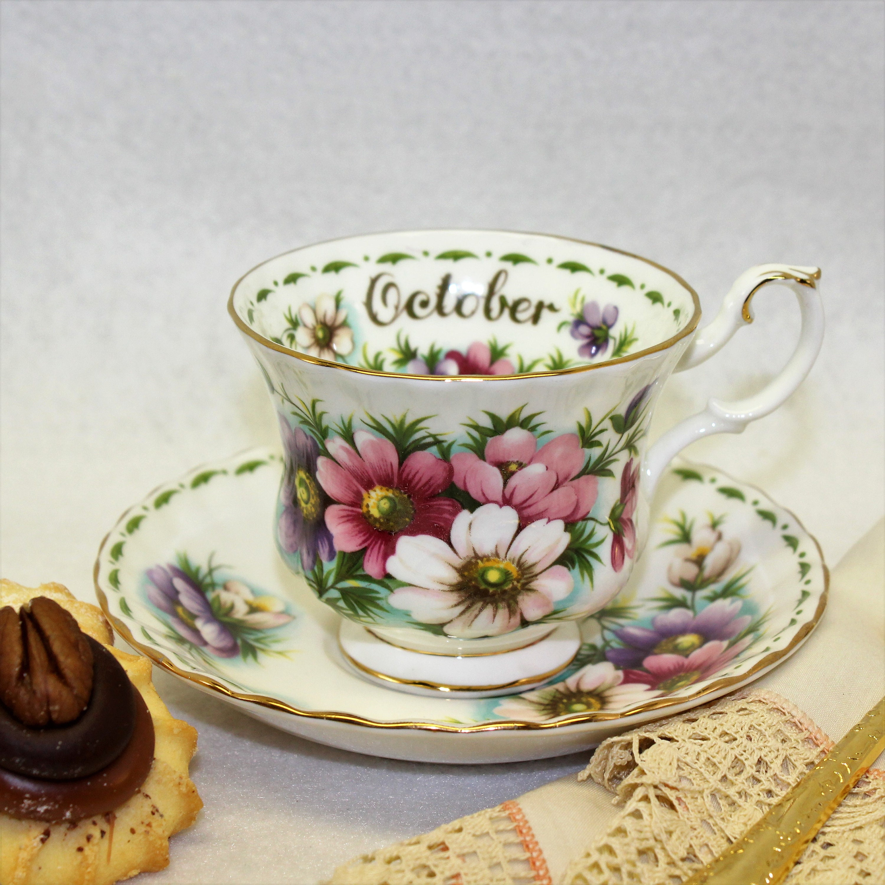 Royal albert flower of the month tea cup october cosmos bone china shipping to free izmirmasajfo