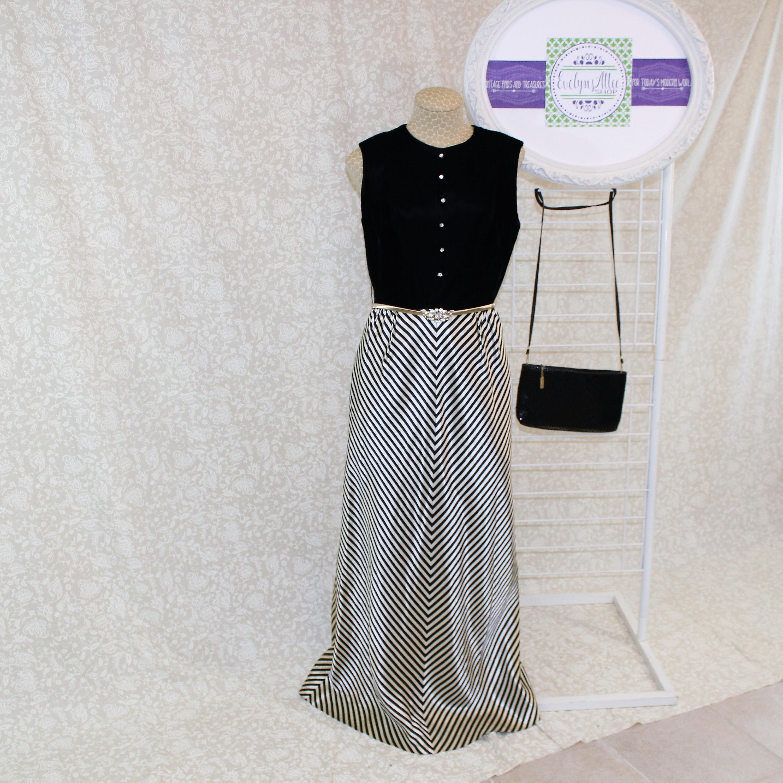 1960\'s Black Striped Evening Gown, Vintage long dress, Velvet, Black ...