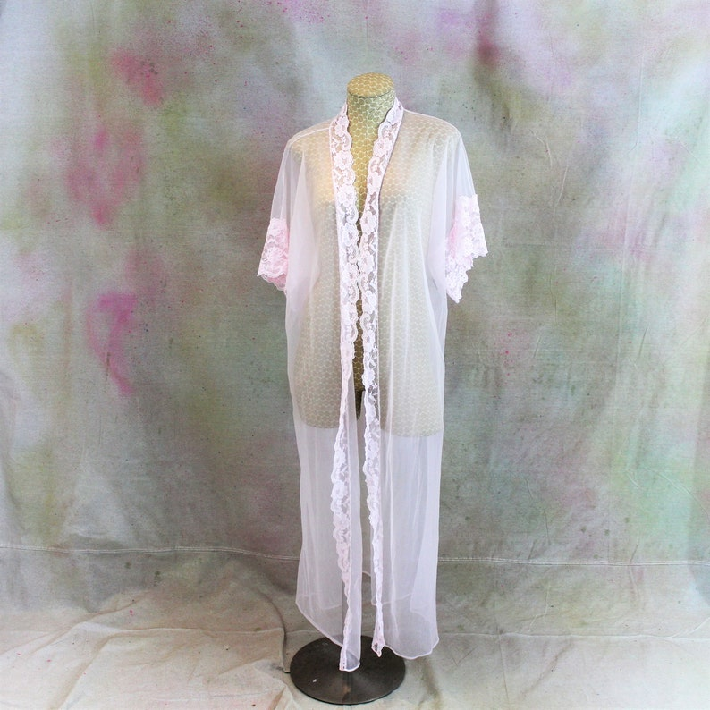 ac493be0610 Vintage Sheer Pink Robe by Sopre Negligee. Full Length