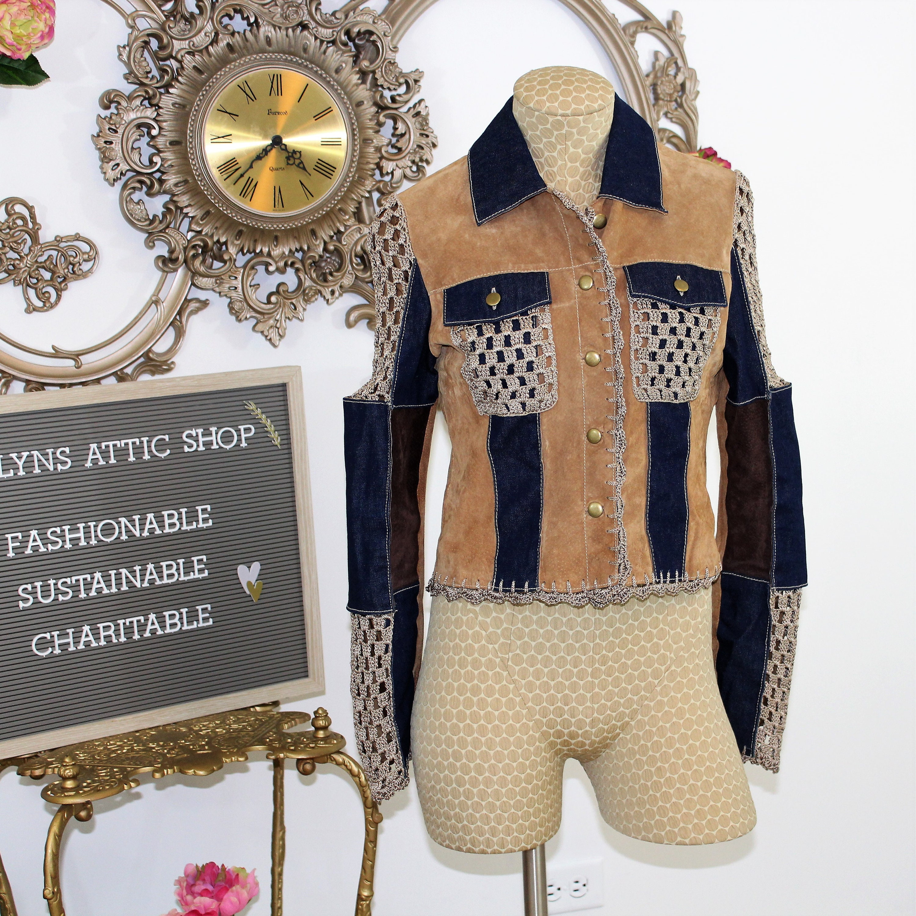 c9028a08a Patchwork Jacket size Small. Suede and Denim Jacket with Crochet ...
