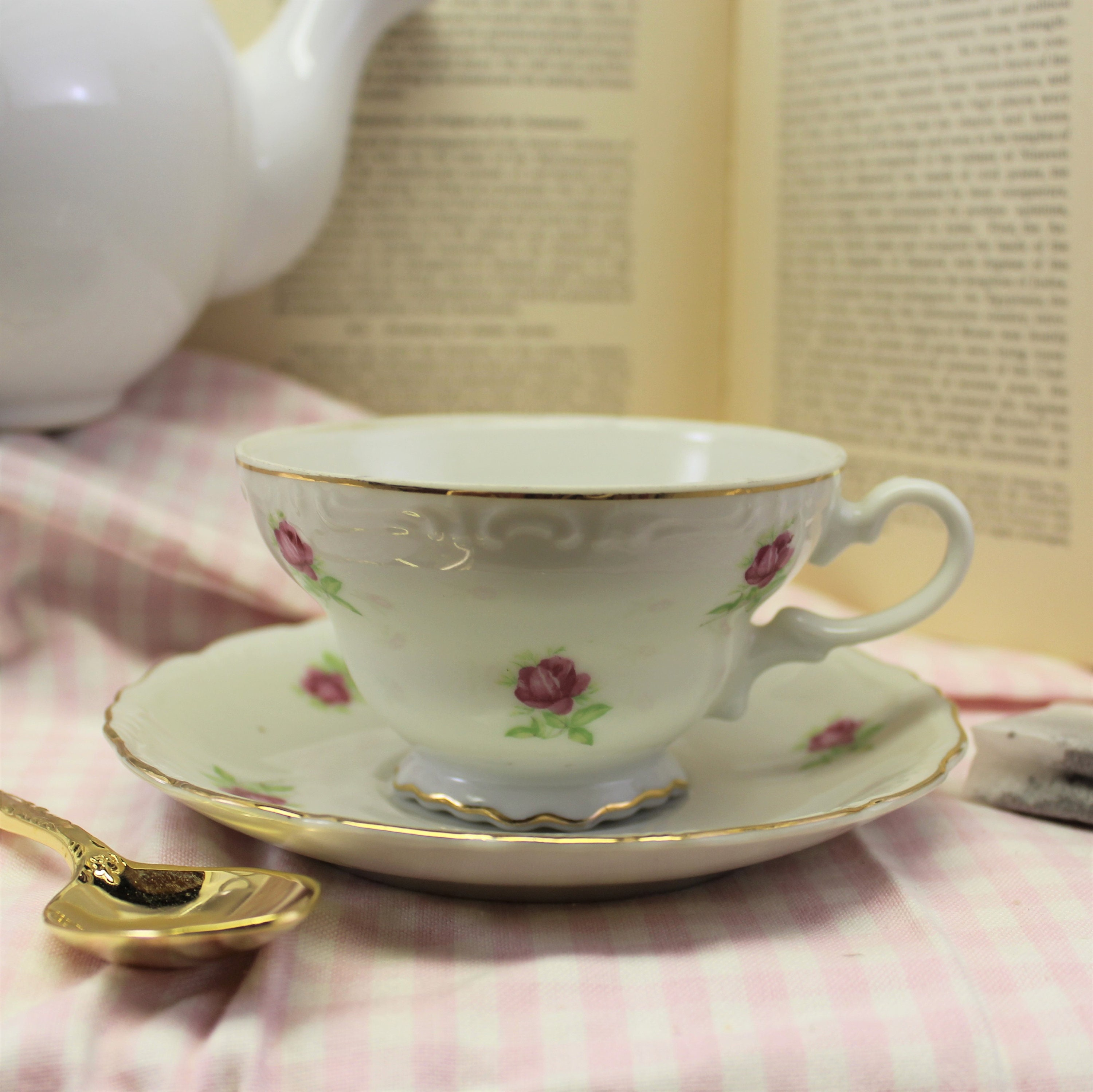 footed white and pink tea cup with matching saucer gold trim perfect for bridal shower favor candle tea party no hallmark