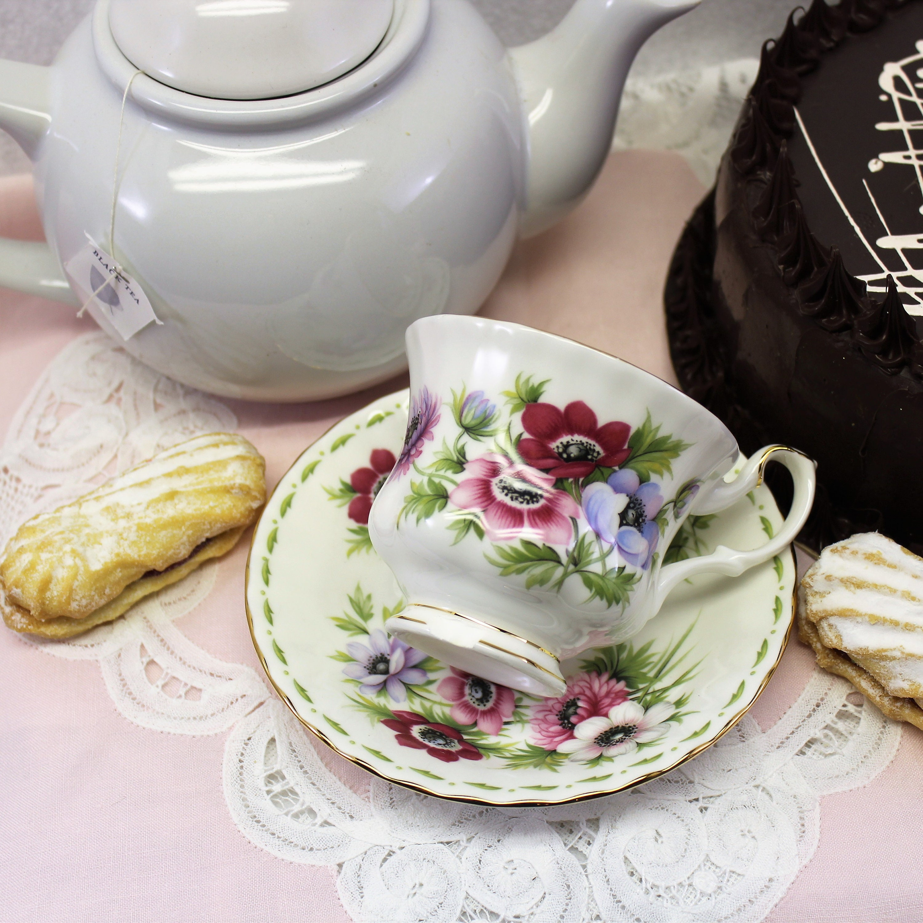 Royal albert flower of the month tea cup and saucer anemone great shipping to free izmirmasajfo